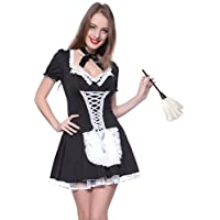 Ladies Sexy French Maid Servant Lolita Fancy Dress Fun Party Hen Costume Outfit Uniform XL