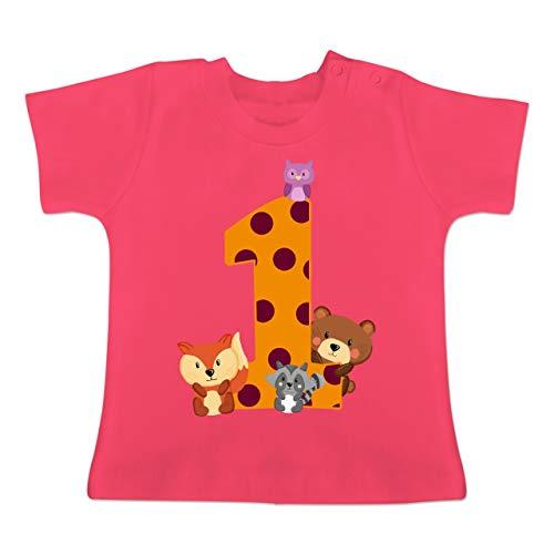 Geburtstag Waldtiere - 12-18 Monate - Fuchsia - BZ02 - Baby T-Shirt Kurzarm ()
