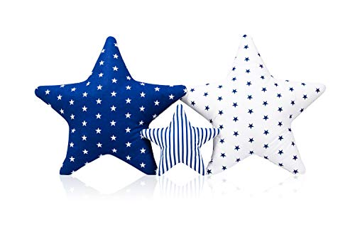 3 Pack Kissen Set Stern Sternchen Zierkissen ca. 60 cm / 28cm Kinderzimmer Zimmer Deko Sternkissen Baby Dekokissen mit Füllung für Schlafzimmer Babyzimmer Kinderbett Mädchen Jungen SET6