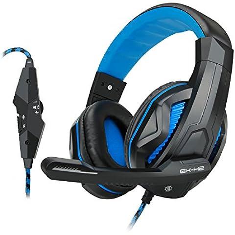 Accessory Power ENHANCE GX-H2 - Auriculares estéreo para juegos con acolchado cómodo y micrófono ajustable, 2x 3.5 mm, 20 - 20000 Hz, Negro y