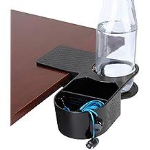 ENHANCE Clip portaobjetos con bandeja organizadora de escritorio - Almacenamiento de bebidas y accesorios con abrazadera