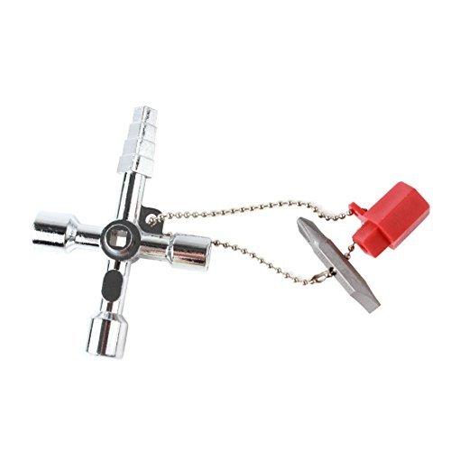 origlam 4Universal Utility Klempner Schlüssel, 4Wege Automobile Utility Multi Cross, Legierung Quadrat Dreieck Kreuz Key Werkzeug für Zug Elektrische Aufzug Schrank Box