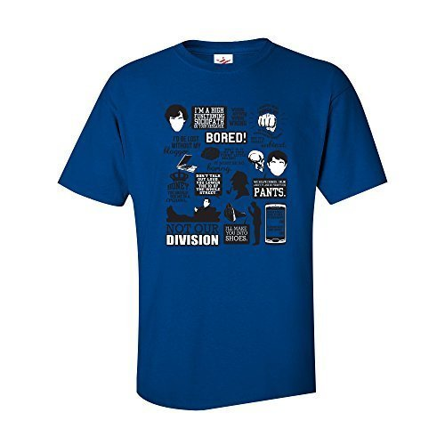 inspiriert gelangweilt Zitate war echte Detektiv Sherlock lustig Doddle Holmes Slogan T-Shirt 100% Baumwolle T-Shirt mit Front bedrucktes T-Shirt - Königsblau, Medium (Bedruckt Slogan Lustige T-shirt)