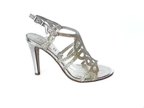 """Sandalo elegante """"Linea Uno"""", scarpa con tacco 10cm. e suola in gomma Platino"""