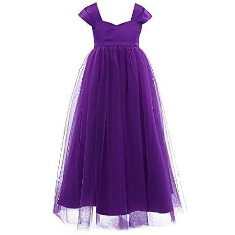 Freebily festliches Kleid Mädchen ärmellos Blumenmädchen Kleider Abendkleid Hochzeits Kleid Prinzessin Brautjungfern Partykleid Festzug in Gr. 86-164 Lila 152