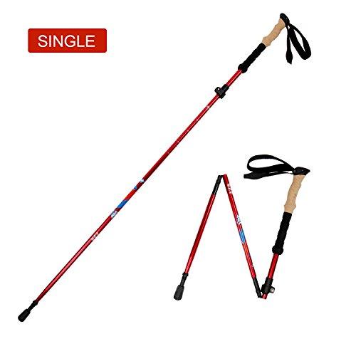 Vihir 2×Bâton de Marche Pliable Téléscopique Ultra Léger pour Randonnée Trekking, Longueur Réglable de 105 à 135 cm