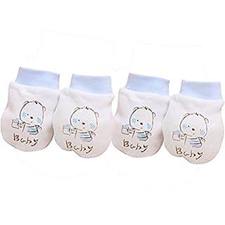 2Paar Baby-Handschuhe Auxma Baby-Kind-Jungen-Mädchen-nette Karikatur Anti Scratch Fäustlinge weiche Handschuhe (Blau)