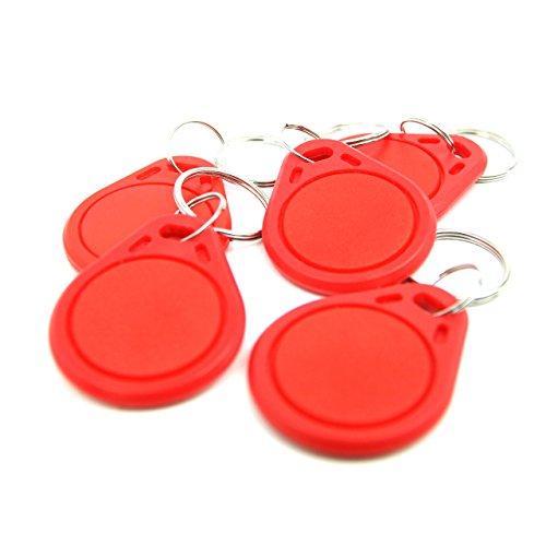 NFC Tag Anhänger, 40x32mm, NXP NFC Chip, 180 Byte, rot, optimal für Geräte-/ Profilsteuerung (Wlan, Bluetooth, Apps), kompatibel mit allen NFC Smartphones und Tablets, 5 Stück Bluetooth-anhänger