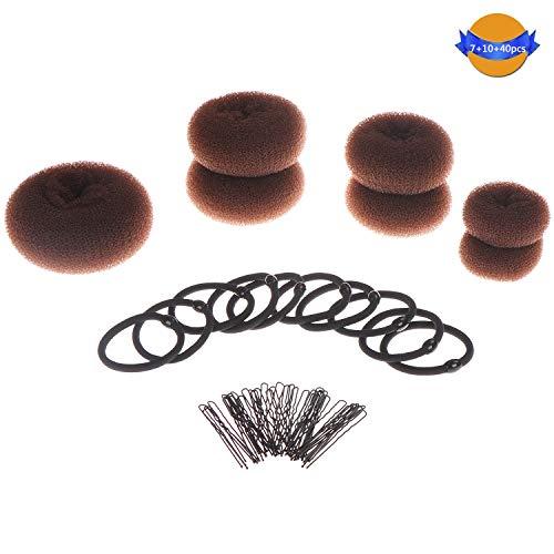 Locolo 7 Stück Donut Haarknoten Maker, Ring-Stil Duttmacher Set braun (1 extra groß + 2 groß + 2 mittel + 2 klein) mit 10 Haargummis und 40 Haarnadeln Haar Donut für Chignon Haar