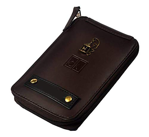 Generic 5.6 inches Multipurpose PU Leather Wallet/Mobile Case with Personal Name Printed (Brown)