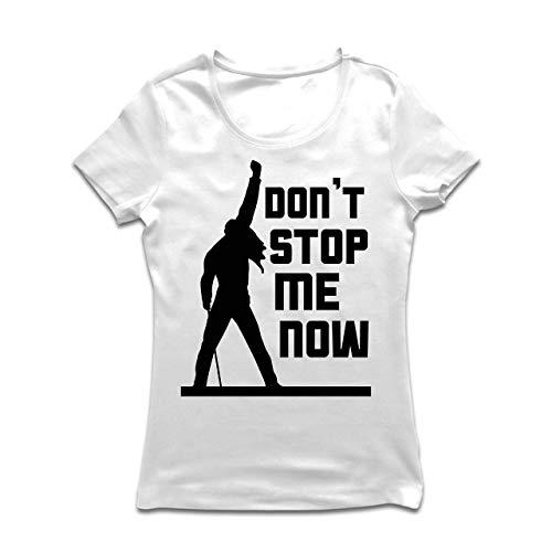 lepni.me Frauen T-Shirt Don't Stop me Now! Fan Shirts, Musiker Geschenke, Rock Kleidung (Large Weiß Mehrfarben) -