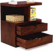 DEMIWALL Sheesham Wood Bedside Tables Telephone Drawers Storage End Table Flower Pot Night Stand Table Office