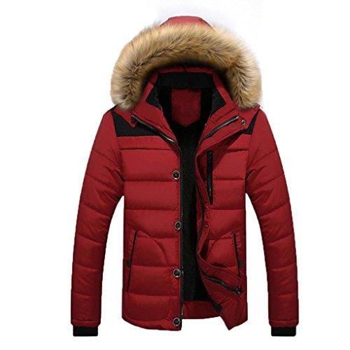 Herren Jacken YunYoud Männer Draussen Warm Winterjacke Winter Dick Mit Kapuze Mantel Große Größe Pelz Jacke Beiläufig Reißverschluss Steppjacke Mode Sweatjacke (M, Rot) (Breasted Double Band)