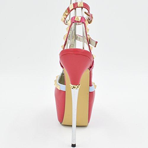 Oasap Femme Chaussure A Talons Hauts Club Plate-forme Rivet Décoration Rouge