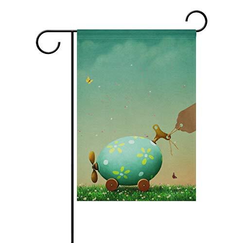 ALINLO Lustige Ostereier Auto Garten Flagge 30,5 x 45,7 cm Custom doppelseitige Hofflagge Polyester Haus Banner für Innen Außen Home Decor, Polyester, Mehrfarbig, 12x18(in)