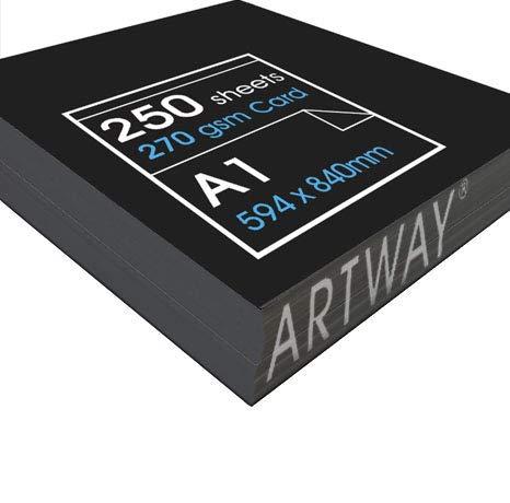 Schwarz, 270 g/m ², recycelt, 50 x A1 Bogen hochwertigem Papier, Karton, Schwarz