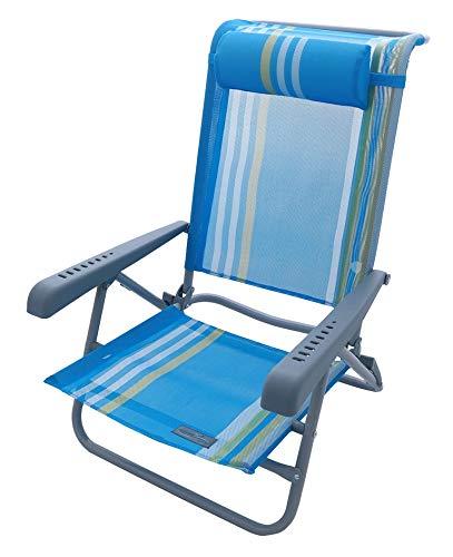 Meerweh Strandstuhl mit Verstellbarer Rückenlehne und Kopfpolster Klappstuhl Anglerstuhl Campingstuhl blau/gelb