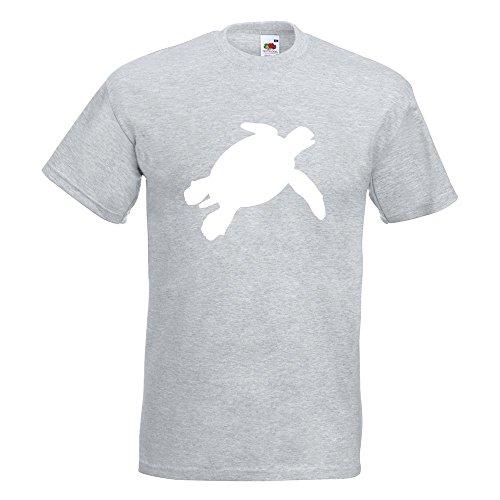 KIWISTAR - Schildkröte Silhouette T-Shirt in 15 verschiedenen Farben - Herren Funshirt bedruckt Design Sprüche Spruch Motive Oberteil Baumwolle Print Größe S M L XL XXL Graumeliert