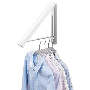 mDesign Klapphaken für die Waschküche - klappbarer Kleiderhaken aus Metall zur chemischen Reinigung - wandmontierter Kleiderhalter für Kleiderbügel - weiß