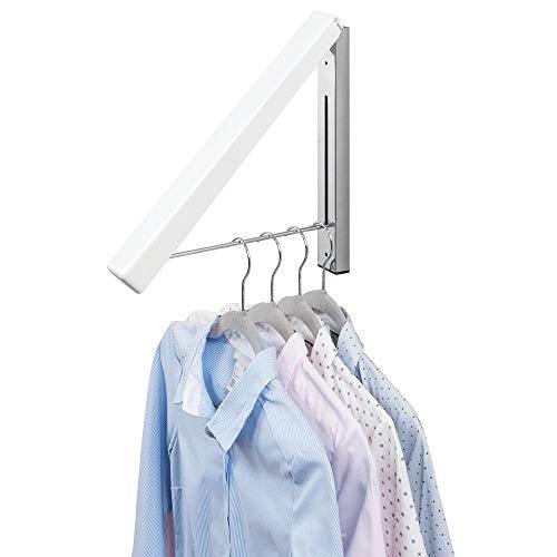mDesign Colgador de ropa abatible para tendedero - Escuadra metálica para prendas que se van a enviar a la tintorería - Perchero de pared plegable con barra para colgar perchas de ropa - blanco
