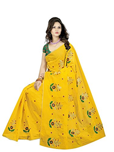 Fantasy Fab Women's Chanderi Yellow Embroidered Saree
