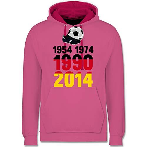 Shirtracer Fußball-Europameisterschaft 2020-1954, 1974, 1990, 2014 - WM 2018 Weltmeister Deutschland - L - Rosa/Fuchsia - JH003 - Kontrast Hoodie