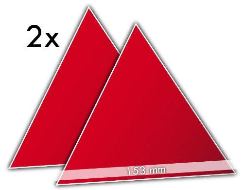 2 prismatische Reflektor-Dreiecke 150 mm, rot