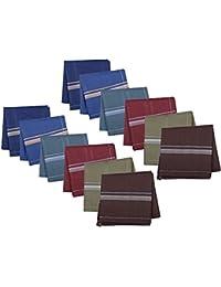 S4S® Gentleman's Dark Color 100% Cotton Premium Handkerchief (Pack of 12)