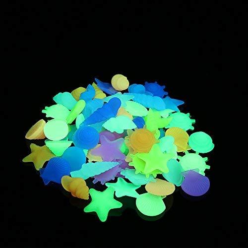 Glow in the Dark Pebbles, dekorativer Glow Rocks Steine Kies für Fairy Garden Durchgang, Fisch Tank Aquarium Landschaftsbau Dekoration (Seashell & Conch & Seestern Form gemischt, 285g/0.62lb)