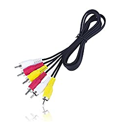 VTOP RCA/Phono Male Plug to Plug Composite AV Audio Video Cable TV Leads - 1m - Triple 3x RCA to RCA Phono Stereo Cable with Yellow Red White Plug for RCA Converter