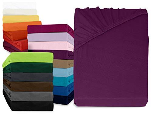 npluseins klassisches Jersey Spannbetttuch - erhältlich in 34 modernen Farben und 6 verschiedenen Größen - 100% Baumwolle, 90-100 x 200 cm, lila