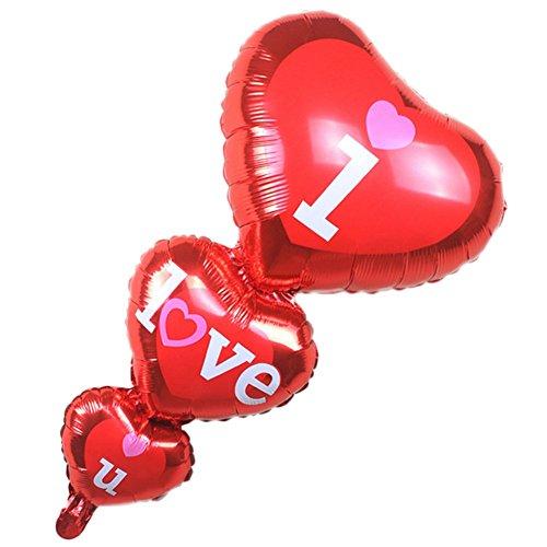 Drawihi 5 Stück I LOVE YOU - Folienballon Luftballons Hochzeitskleid Ballon Hochzeit Party...