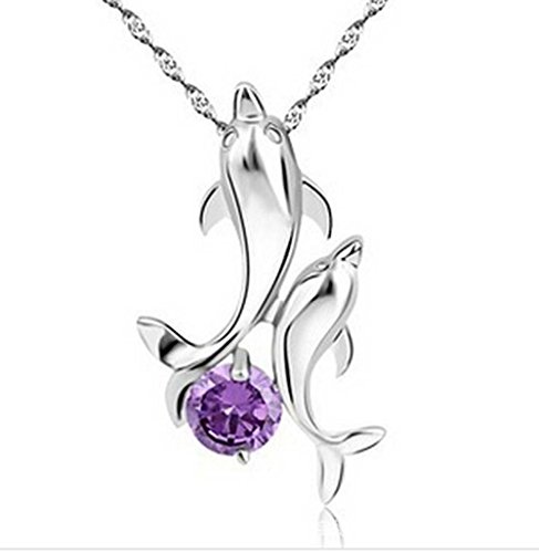 findout plata de ley amatista delfines colgante collar de la mujer .para niñas (f1128)