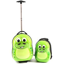 Cuties and Pals maletas infantiles, mochilas infantiles, ninos, viajar, trolley (maletas y mochias, dinosaurio verde)