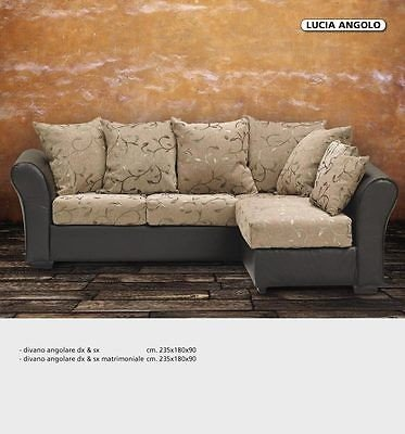 Esteamobili divano angolare salottoeco pelle vari tessuti e colori - ecopelle bianco