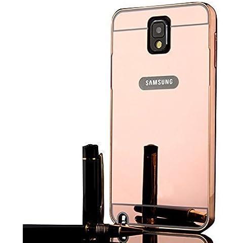 Sunnycase® Premium PC Bumper Para Samsung Galaxy Note 3 N9000 Funda Aluminio carcasa Rosa Metal Mirror Bumper phone Frame case dura cubierta alta calidad Protección Parachoques Cover Marco Tapa + bling espejo espalda