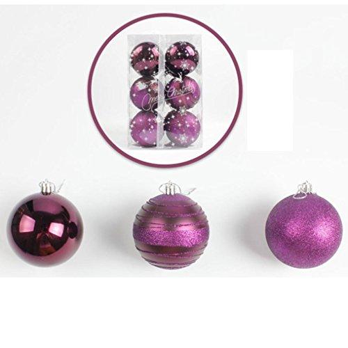 Gusspower 12 palle di natale decorative, in ghisa, resistenti, per albero di natale, decorazioni da appendere, pvc, lilla, 80 mm