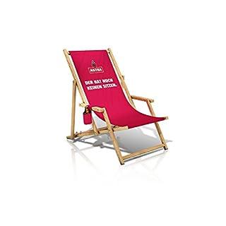 Astra Liegestuhl mit Armlehnen & Flaschenhalterung, Gartenstuhl, klappbare Sonnenliege, Bier für die Entspannung