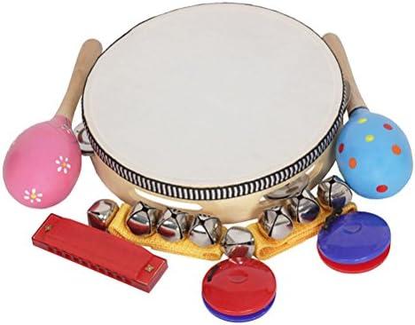 ultnice jouets musique Orff InstruHommes InstruHommes InstruHommes ts Sets Band Rhythm Kit Tambourin Maracas Castagnettes Handbells Harmonica pour enfants 8pcs/set B07BT77XCR 446910