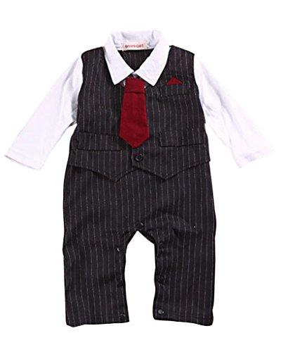 Minetom Bambini Ragazzi Primavera Autunno Manica Lunga Pagliaccetto Abiti Strisce Vest Con Rosso Cravatta Nero 80