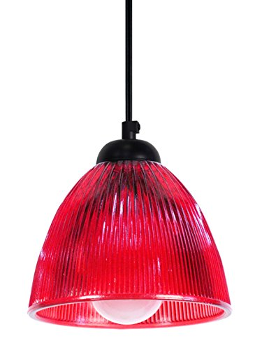 Tosel 11506 Suspension New York Verre 60 W E14 Rouge/Rouge
