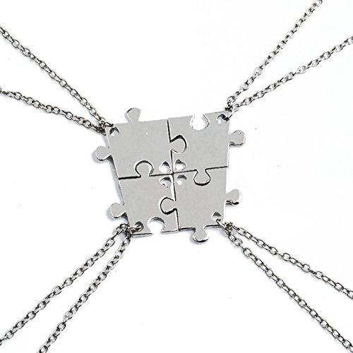 Daesar Collar Acero Inoxidable Mujer Collar Mujer Colgante Mujer Collar Puzzle Rompecabezas Collar Plata