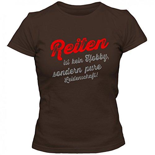Reiten T-Shirt | Reit-Shirt | Pferd | auf dem Rücken Unserer Pferde | Frauen | Shirt Braun (Chocolate L191)