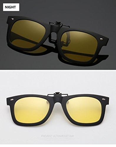 Yiph-Sunglass Sonnenbrillen Mode Polarisierte Clip auf Myopie Brille Clip kurzsichtigen Tag und Nacht Fahren Vision Objektiv Anti-UVA Anti-UV Radfahren Reiten Sonnenbrille Clip (Color : Night)