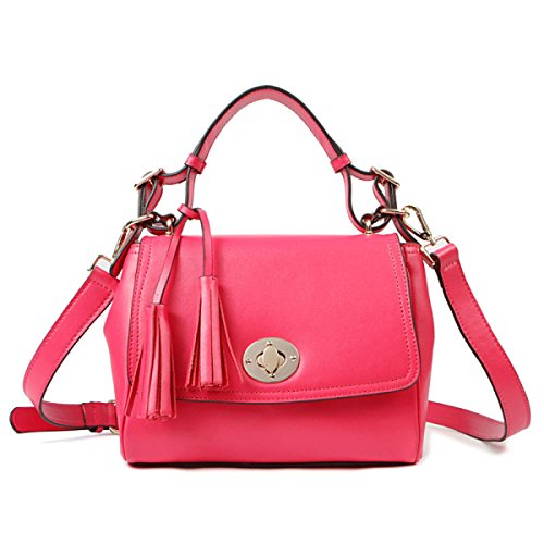 PACK Ladies Leather Ladies Dolce Tassels Messenger Bag Ladies Piccolo Borsa Portatile,A:RoseRed A:RoseRed