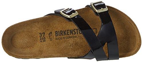 Birkenstock Yao Balance Birko-Flor, Ciabatte Donna Schwarz (Patent Black Lack)