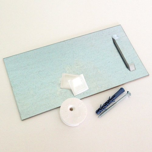 Klebeblech (1 Stk.)zum Aufhängen für Spiegel und Wandbilder inkl. Ausgleichs-Excenter und Montageset 10cm x 20cm | Spiegelaufhänger , Aufhängeblech , geeignet für Spiegel, Hartschaum-Platten und Alu-Verbundplatten