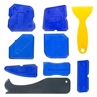 Wolintek 9 Pieces Caulking Tool Kit Silicone Sealant Finishing Tool Grout Scraper Caulk Remover Caulking Profile Line Joint Corner Tool