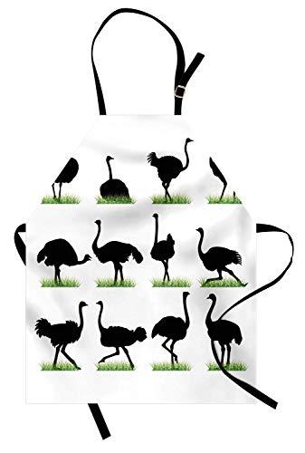 Strauß-Schürze, Schattenbild des wilden Kamel-Vogeltieres im Zoo-Gras-Illustration, Unisexküchen-Latzschürze mit justierbarem Hals für das Kochen backende Gartenarbeit, Farn-Grünweiß und -schwarzes