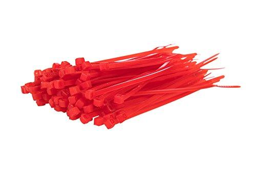 100unidades) bridas–200mm x 4,8mm Premium Tie Wraps–Alta calidad fuerte nylon Zip Ties por gocableties, rojo